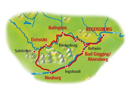 Map Altmühltal Valley and Danube
