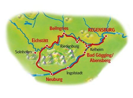 Karte Altmühltal und Donau