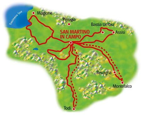 Karte Umbrien Sternfahrt