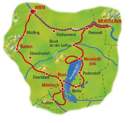 Karte Neusiedlersee Rundfahrt