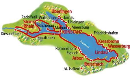Bodensee Radtour, 7 Tage - Karte