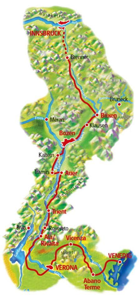 Map Innsbruck - Verona - Venedig