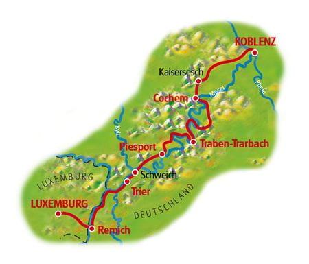 Karte Mosel-Radweg, Luxemburg - Koblenz