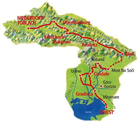 Karte Dolomiten - Triest