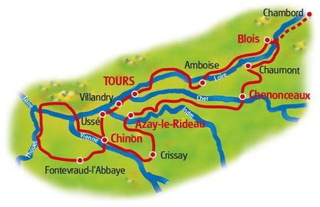 Map Castles on River Loire
