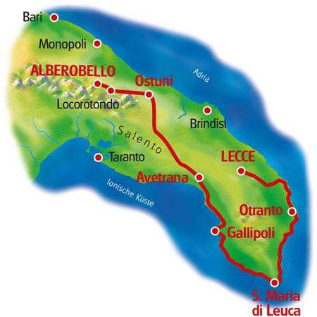 Karte Apulien