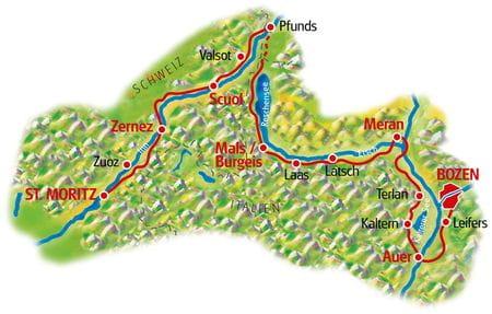Karte St. Moritz - Bozen