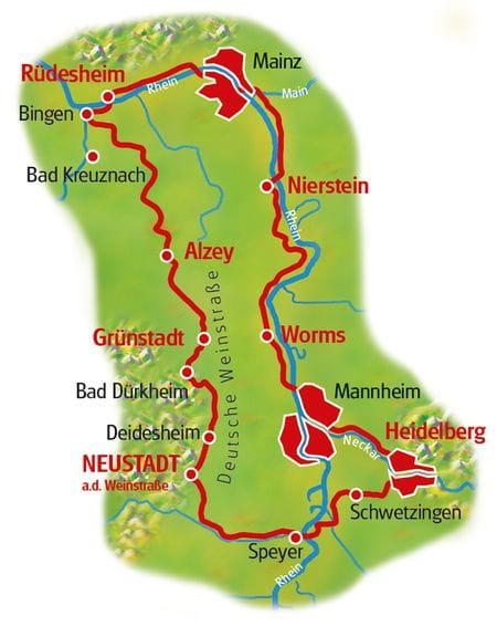 Winzertour am Rhein - Karte