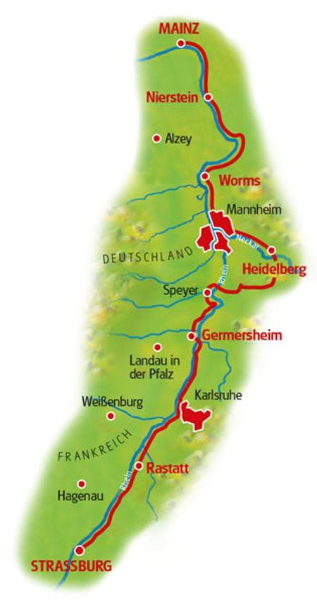 Karte Rhein-Radweg Straßburg - Mainz