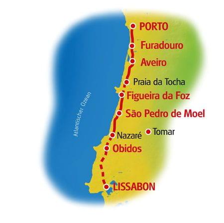 Karte Porto - Lissabon