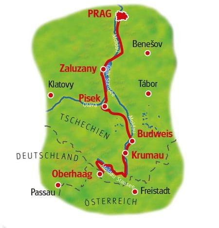 Karte Moldau-Radweg