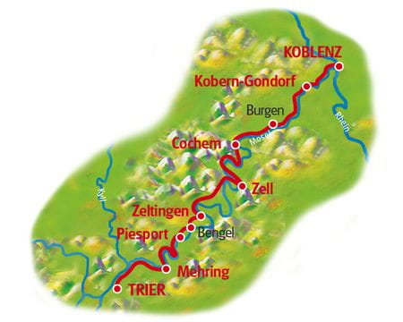 Map Moselle cycle path, Trier - Coblenz