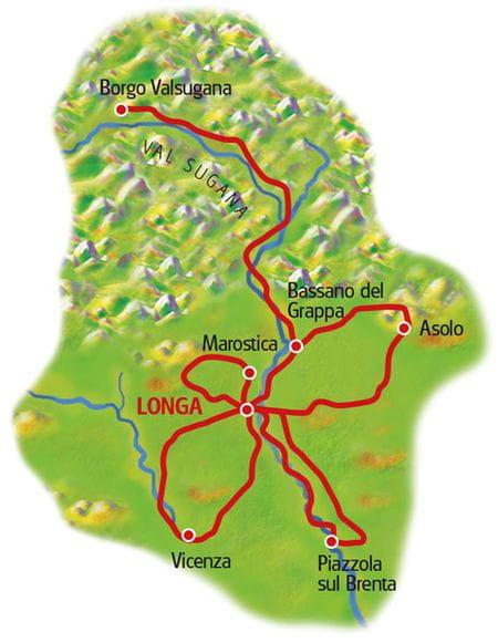Karte Bassano Sternfahrt
