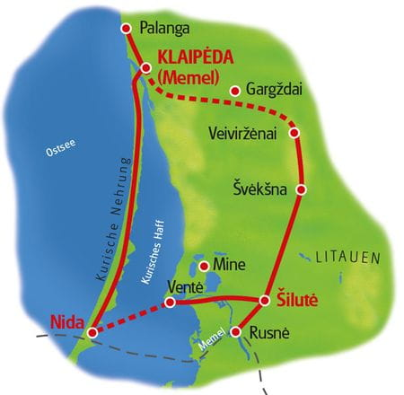 Map Memel country and Curonian Spit