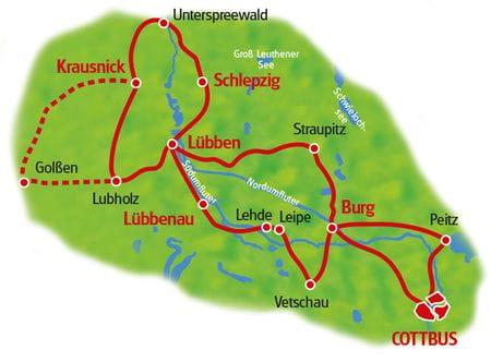Karte Gurken-Radweg