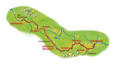 Map Rothenburg - Regensburg