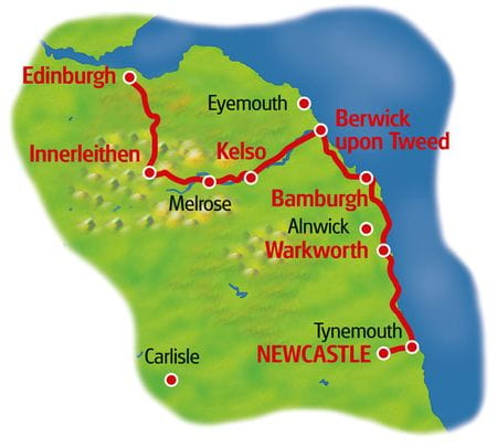 Map Newcastle - Edinburgh