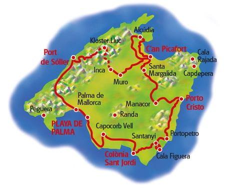 Mallorca Rundfahrt - Karte
