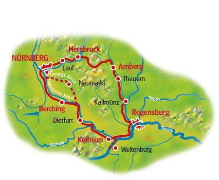 Karte Fünf Flüsse Bayerns
