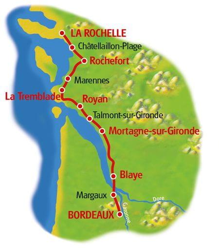 Radreise La Rochelle - Bordeaux - Karte