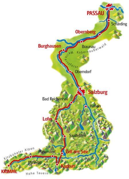 Karte Tauern-Radweg