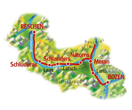 Adige Cycle Path for Family, Reschen - Bolzano, Map