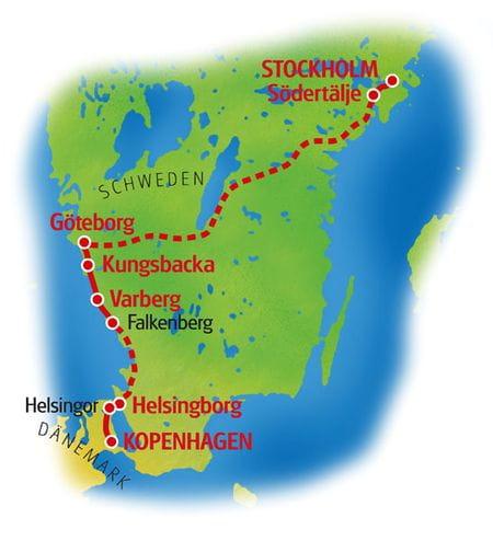 Karte Stockholm - Kopenhagen