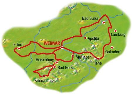Karte Weimar Sternfahrt