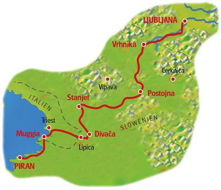 Karte Smaragdroute Slowenien