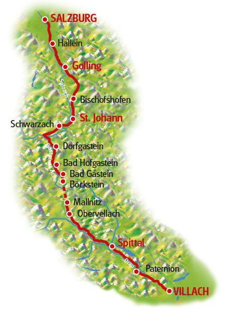Karte Salzburg - Villach