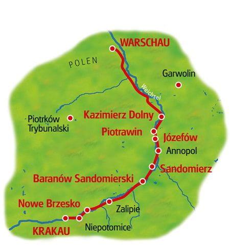 Karte Krakau - Warschau
