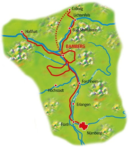 Karte Bamberg Sternfahrt