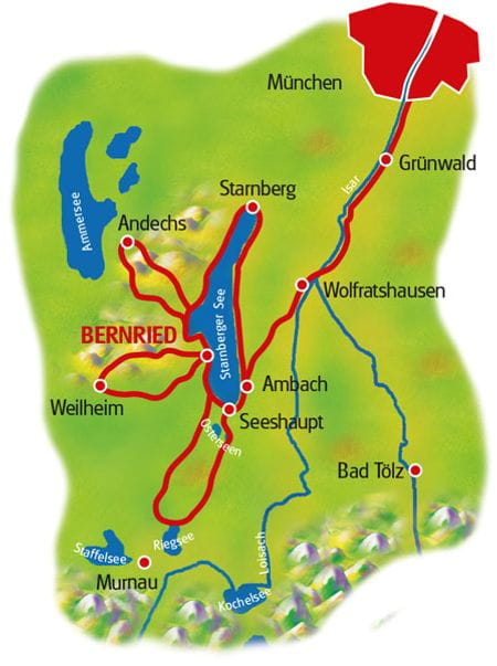 Map Lake Starnberger See - based in one hotel