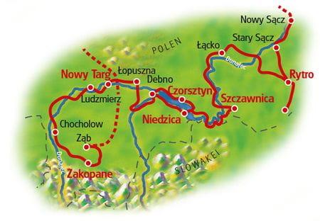 Karte Dunajec-Radweg