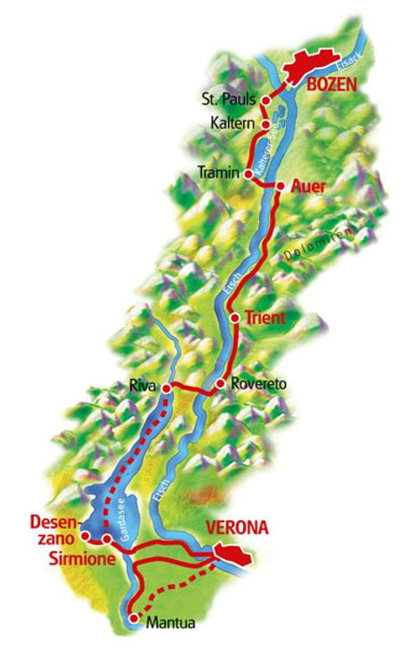 Karte Bozen - Verona