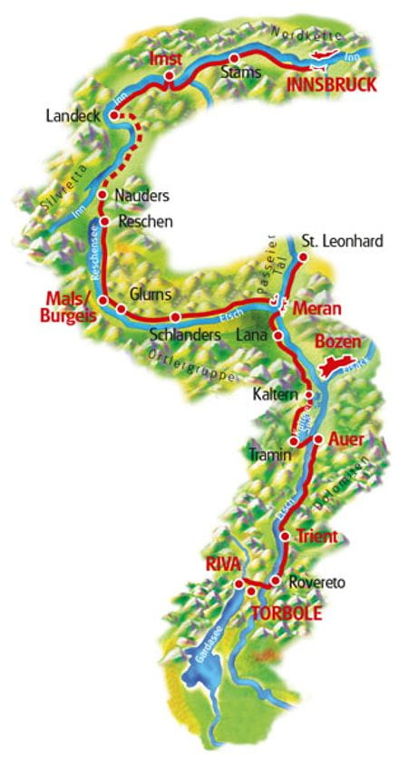 Karte Innsbruck - Gardasee