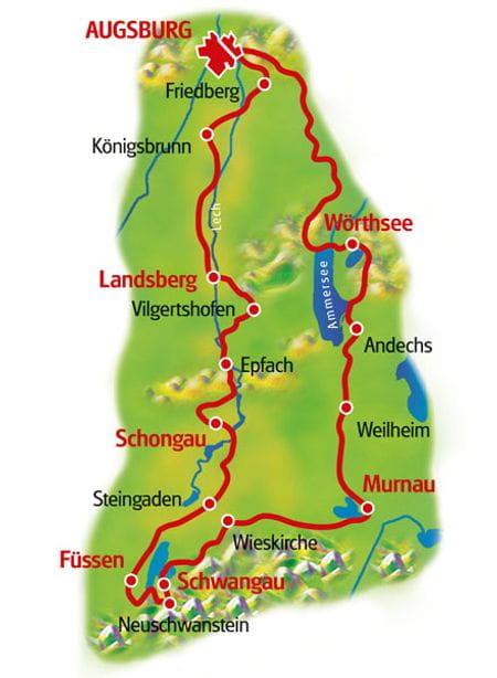 Map Romantic Road & Bavarian Lakes