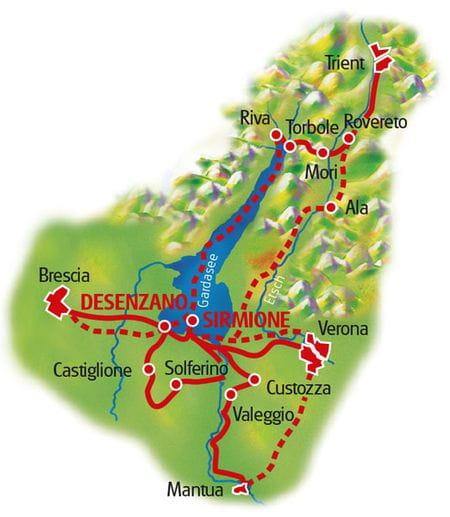 Map Lake Garda based in one hotel