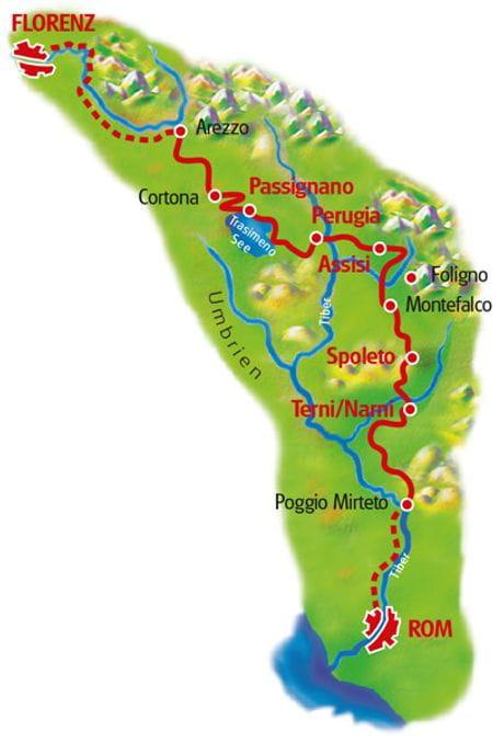 Karte Florenz - Rom