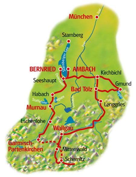 Map Bavarian Lakes Loop Tour