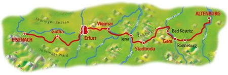 Map thuringian cities chain