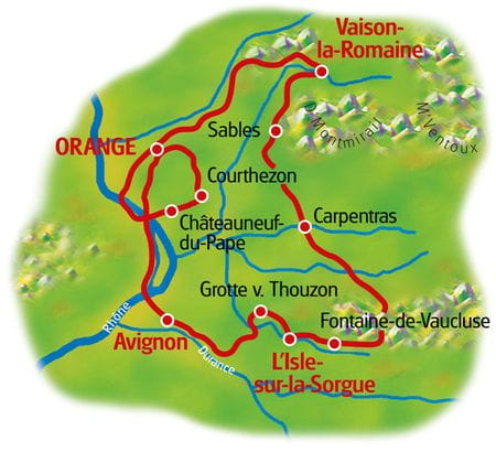 Map Provence Loop Tour