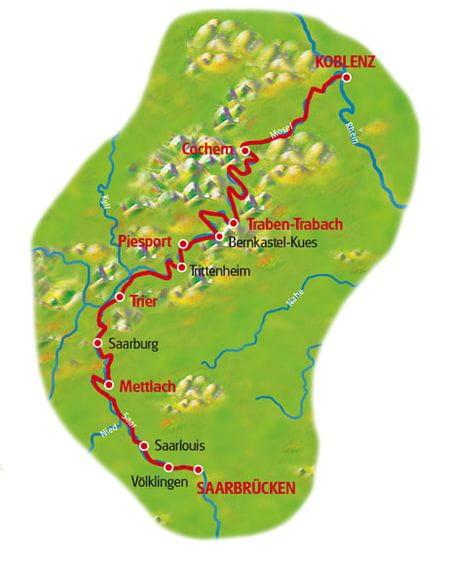 Map Saarbrücken - Coblenz