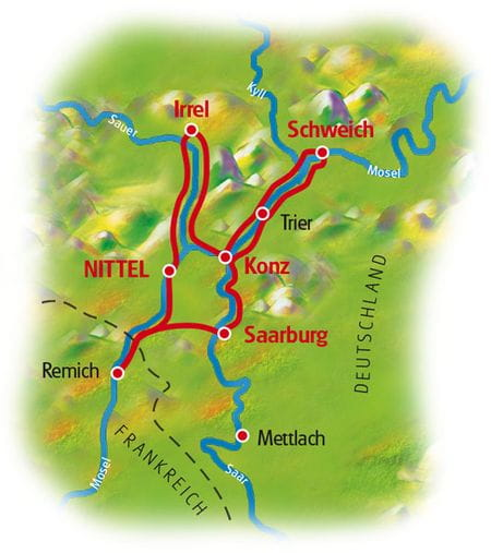 Map Moselle, Saar and Sauer