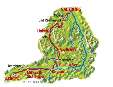 Tauern Cycle Path for Family, Map