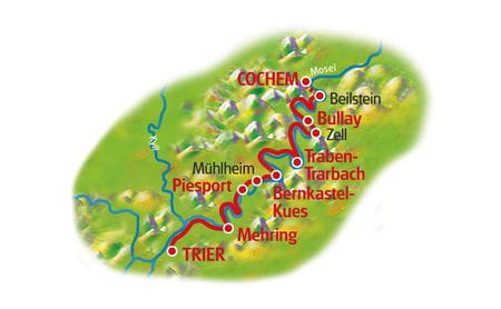 Moselle Cycle Path for Family, Trier - Cochem, Map