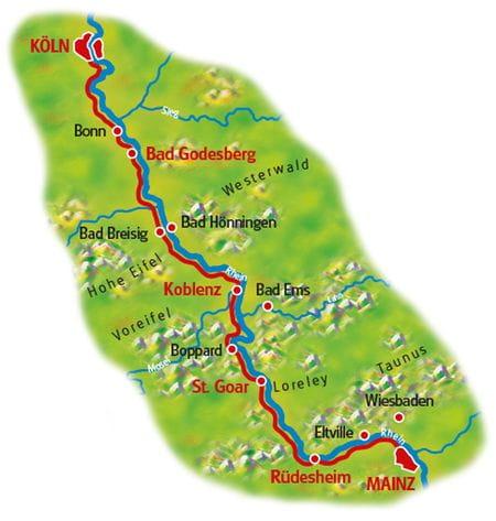 Radtour Mainz - Köln am Rhein-Radweg IV - Karte