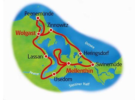 Karte Usedom Doppelsternfahrt