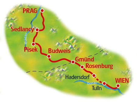 Karte Prag - Wien