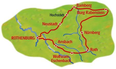 Bayerische Biertour 21 - Karte